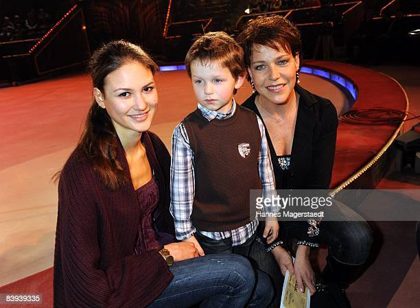 Actress Janina Hartwig and her children David and Elena attend Stars In Der Manege At on December 6 2008 in Munich Germany