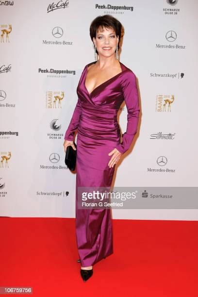 Actress Janina Hartwig poses on the red carpet for the Bambi 2010 Award at Filmpark Babelsberg on November 11 2010 in Potsdam Germany