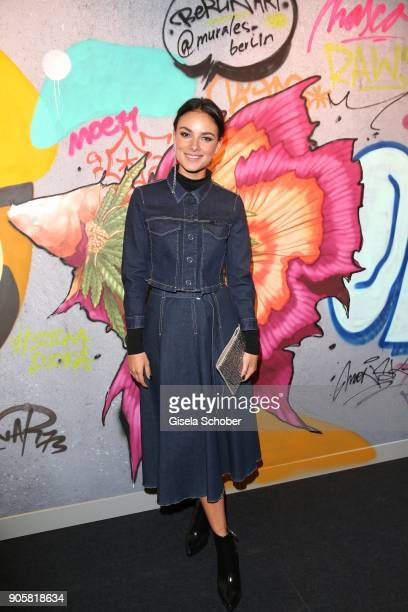 Actress Janina Uhse during the Marc Cain Fashion Show Berlin Autumn/Winter 2018 at metro station Potsdamer Platz at on January 16 2018 in Berlin...