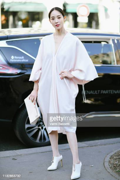 Actress Janine Chang poses after the Lanvin show at the Musee de Cluny during Paris Fashion Week Womenswear FW1920 on February 28 2019 in Paris France