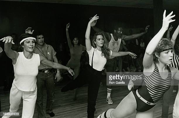Actress Janine Turner Ann Archer and Olympic athlete Wayne Collett attending First Annual Aerobics Marathon for 'Victims for Victims' on April 24...