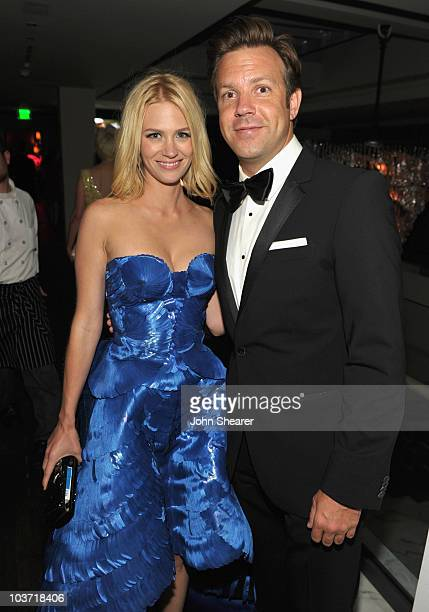 Actress January Jones and actor Jason Sudeikis attend the AMC After Party for the 62nd Annual EMMY Awards at Soho House on August 29 2010 in West...
