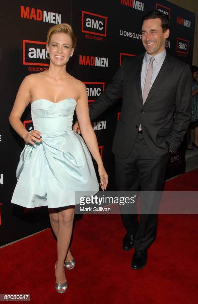 Actress January Jones and actor Jon Hamm arrive at The Second Season Of Mad Men premiere on July 21 2008 in Hollywood California