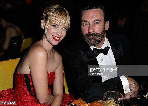 Actress January Jones and actor Jon Hamm attend the 66th Annual Primetime Emmy Awards Governors Ball held at Los Angeles Convention Center on August...
