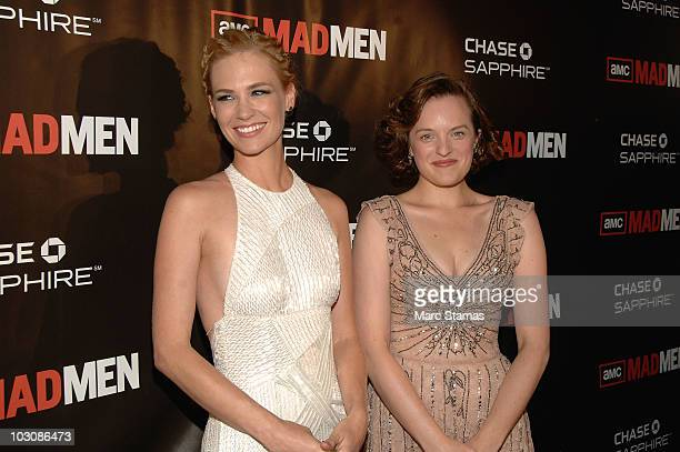 Actress January Jones and Actress Elisabeth Moss attend the 'Mad Men' Season 4 Premiere in Duffy Square on July 25 2010 in New York City