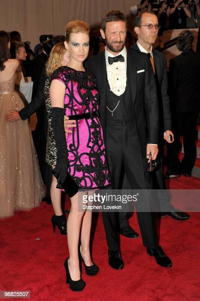 Actress January Jones and designer Stefano Pilati attend the Costume Institute Gala Benefit to celebrate the opening of the 'American Woman...
