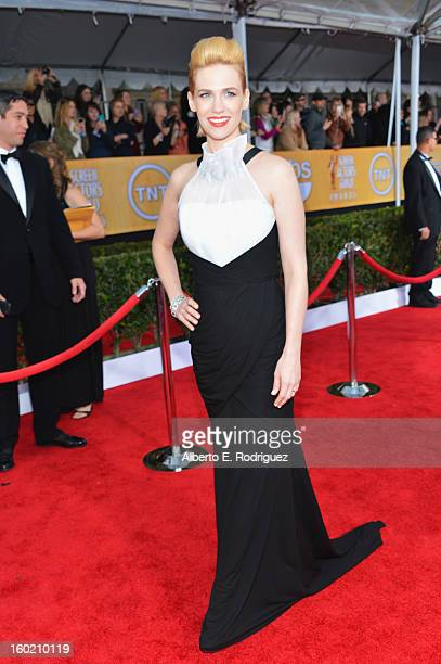Actress January Jones arrives at the 19th Annual Screen Actors Guild Awards held at The Shrine Auditorium on January 27, 2013 in Los Angeles,...