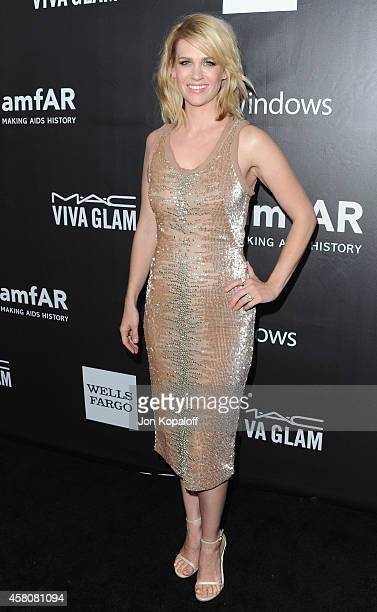 Actress January Jones arrives at the 2014 amfAR LA Inspiration Gala at Milk Studios on October 29 2014 in Hollywood California