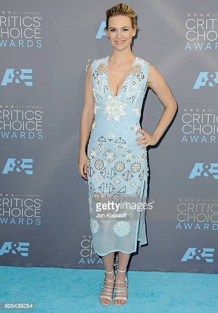 Actress January Jones arrives at The 21st Annual Critics' Choice Awards at Barker Hangar on January 17 2016 in Santa Monica California