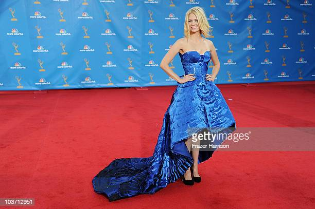 Actress January Jones arrives at the 62nd Annual Primetime Emmy Awards held at the Nokia Theatre L.A. Live on August 29, 2010 in Los Angeles,...