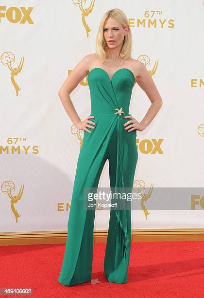 Actress January Jones arrives at the 67th Annual Primetime Emmy Awards at Microsoft Theater on September 20 2015 in Los Angeles California