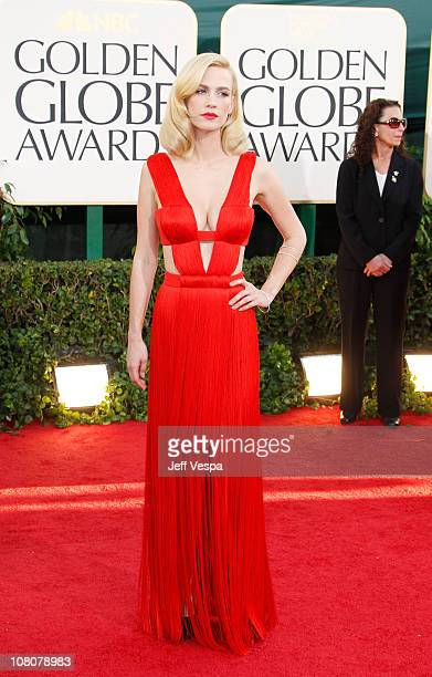 Actress January Jones arrives at the 68th Annual Golden Globe Awards held at The Beverly Hilton hotel on January 16 2011 in Beverly Hills California