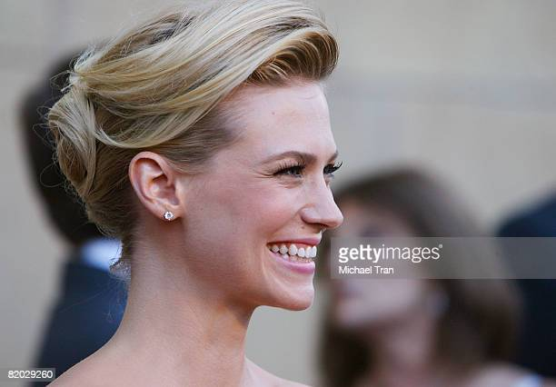 Actress January Jones arrives at the premiere of 'Mad Men' Season 2 hosted by AMC held at the Egyptian Theatre on July 21 2008 in Hollywood California