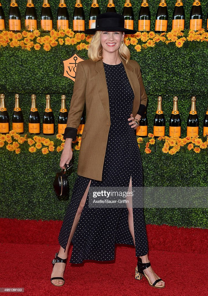 Actress January Jones arrives at the Sixth-Annual Veuve Clicquot Polo Classic, Los Angeles at Will Rogers State Historic Park on October 17, 2015 in Pacific Palisades, California.