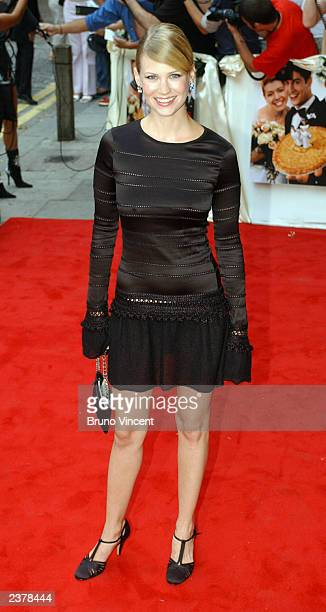 Actress January Jones arrives at the UK premiere of 'American Wedding' the third installment in the 'American Pie' films August 7 2003 in London