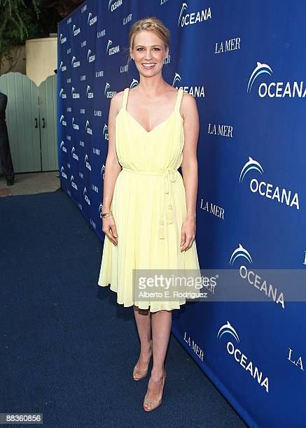 Actress January Jones arrives at the World Oceans Day celebration hosted by La Mer and Oceana at Private Residence on June 8 2009 in Los Angeles...