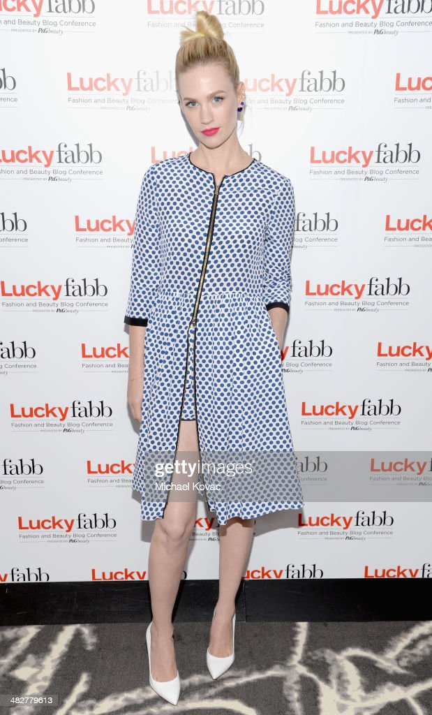 Actress January Jones attends Lucky