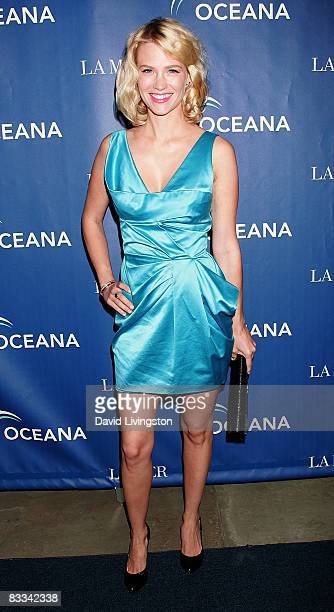 Actress January Jones attends Oceana's 2008 Partners Award Gala at the home of Jena and Michael King on October 18 2008 in Pacific Palisades...