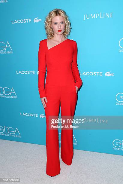 Actress January Jones attends the 17th Costume Designers Guild Awards with presenting sponsor Lacoste at The Beverly Hilton Hotel on February 17 2015...