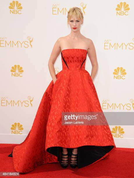 Actress January Jones attends the 66th annual Primetime Emmy Awards at Nokia Theatre LA Live on August 25 2014 in Los Angeles California