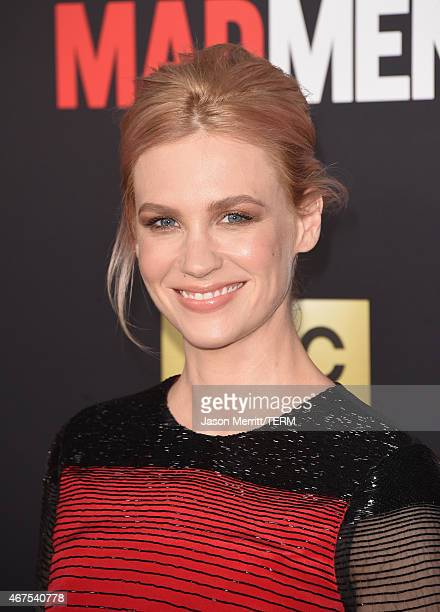 Actress January Jones attends the AMC celebration of the final 7 episodes of 'Mad Men' with the Black Red Ball at the Dorothy Chandler Pavilion on...
