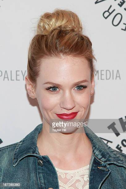 Actress January Jones attends The Paley Center for Media presentation of Mad Men season 5 at The Paley Center for Media on April 23 2013 in New York...