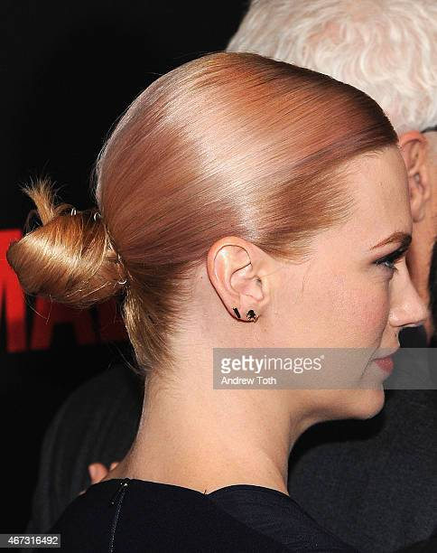 Actress January Jones hair detail attends the 'Mad Men' New York special screening at The Museum of Modern Art on March 22 2015 in New York City