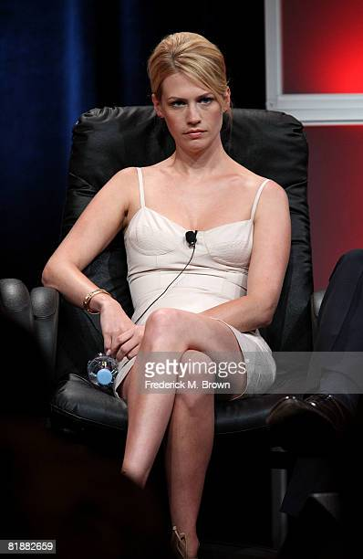 Actress January Jones of Mad Men speaks during day two of the AMC Channel 2008 Summer Television Critics Association Press Tour held at the Beverly...