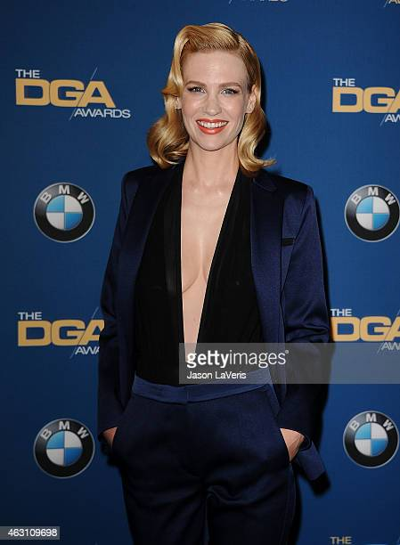 Actress January Jones poses in the press room at the 67th annual Directors Guild of America Awards at the Hyatt Regency Century Plaza on February 7...