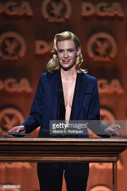 Actress January Jones speaks onstage at the 67th Annual Directors Guild Of America Awards at the Hyatt Regency Century Plaza on February 7 2015 in...