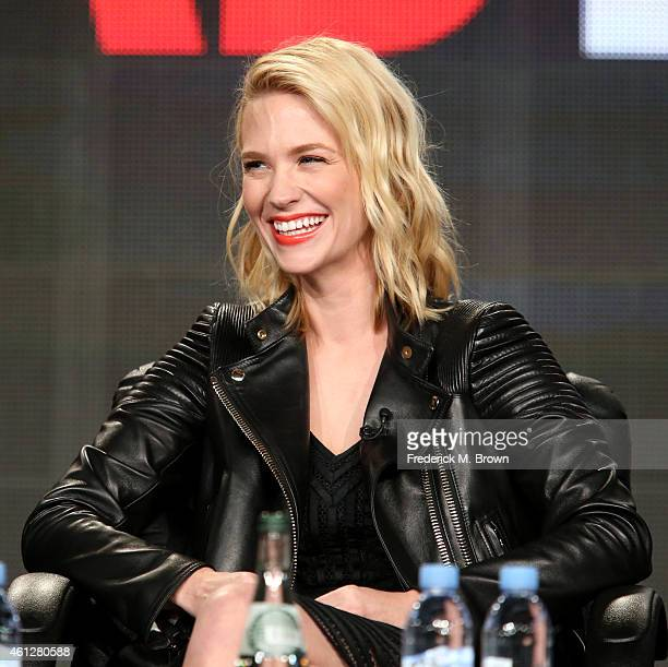 Actress January Jones speaks onstage during the 'Mad Men' panel at the AMC portion of the 2015 Winter Television Critics Association press tour at...