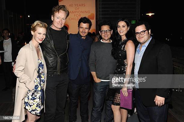 Actress January Jones Tv host Conan O'Brien actor Orlando Bloom host JJ Abrams singer Katy Perry and actor Josh Gad attend Coach's 3rd Annual Evening...