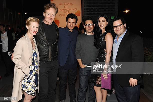 Actress January Jones TV personality Conan O'Brien actor Orlando Bloom host JJ Abrams singer Katy Perry and actor Josh Gad attend Coach's 3rd Annual...
