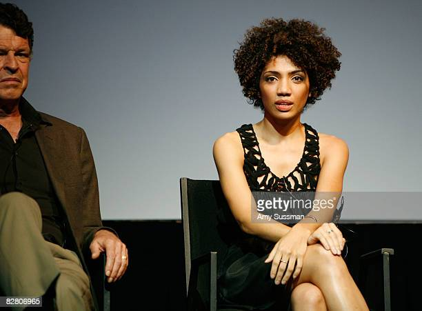 Actress Jasika Nicole speaks at the premiere of Fringe's second episode at The New York Television Festival held at New World Stages on September 13...