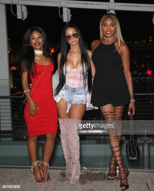 Actress Jasmine Burke actress/model Draya Michele and actress Amiyah Scott attend the 10th annual Tempted2Touch Black LGBT Pride Spring Break Getaway...