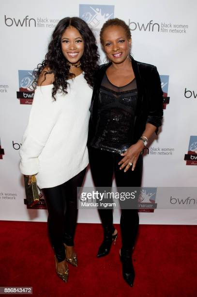 Actress Jasmine Burke and actress Vanessa Bell Calloway attend the BWFN holiday party at Revel on December 5 2017 in Atlanta Georgia
