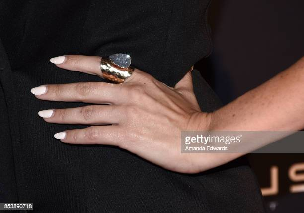 Actress Jasmine Dustin ring and manicure detail arrives at the premiere of Novus Content's 'Til Death Do Us Part' at The Grove on September 25 2017...