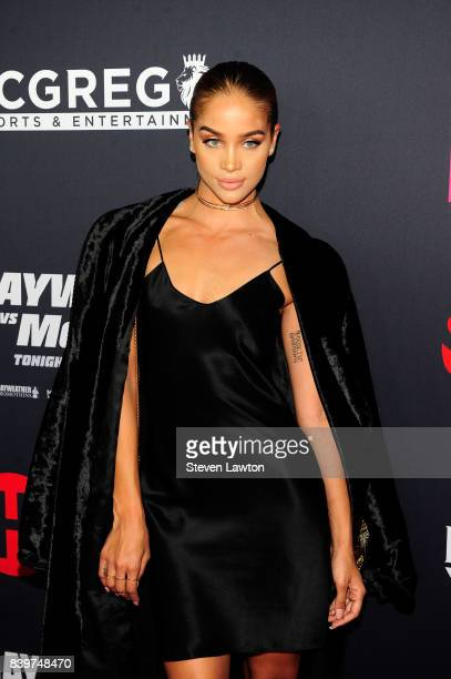 Actress Jasmine Sanders attends the VIP party before the boxing match between boxer Floyd Mayweather Jr and Conor McGregor at TMobile Arena on August...