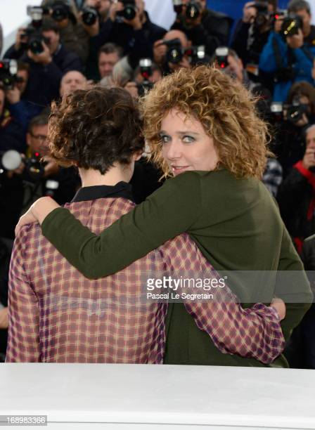Actress Jasmine Trinca and director Valeria Golino attend the 'Miele' Photocall during The 66th Annual Cannes Film Festival at the Palais des...