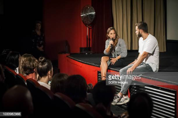 Actress Jasmine Trinca seen speaking during the presentation at the film festival Presentation of the movie On My Skin at the 75hVenice International...
