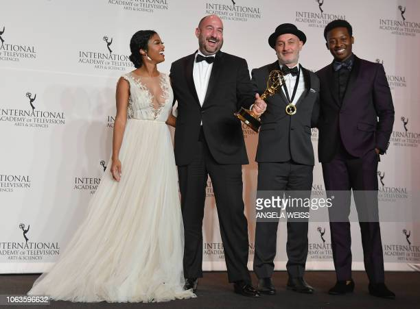 Actress Javicia Leslie and actor Brandon Micheal Hall pose with Executive Producers Fernando Gaston and Alejandro Rincon winners of NonEnglish...