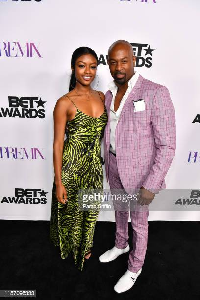Actress Javicia Leslie and actor Darrin Dewitt Henson attend PREMIX Hosted By Connie Orlando at The Sunset Room on June 19 2019 in Los Angeles...