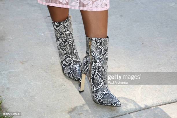 Actress Javicia Leslie Shoe Detail visits Hallmark's Home Familyat Universal Studios Hollywood on October 29 2018 in Universal City California