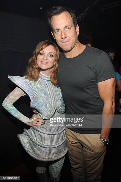 Actress Jayma Mays and actor Will Arnett attend Nickelodeon's 27th Annual Kids' Choice Awards held at USC Galen Center on March 29 2014 in Los...