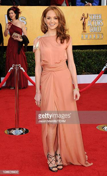 Actress Jayma Mays arrives at the 17th Annual Screen Actors Guild Awards held at The Shrine Auditorium on January 30 2011 in Los Angeles California