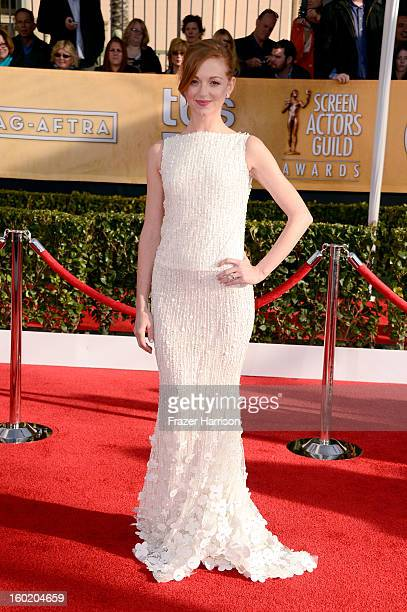 Actress Jayma Mays arrives at the 19th Annual Screen Actors Guild Awards held at The Shrine Auditorium on January 27 2013 in Los Angeles California