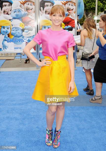 Actress Jayma Mays arrives at the Los Angeles Premiere Smurfs 2 at Regency Village Theatre on July 28 2013 in Westwood California