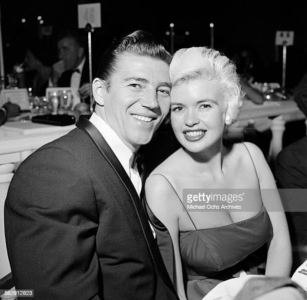 Actress Jayne Mansfield and her husband Mickey Hargitay attend an event in Los AngelesCalifornia