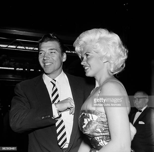 Actress Jayne Mansfield and husband Mickey Hargitay attend an event in Los AngelesCalifornia