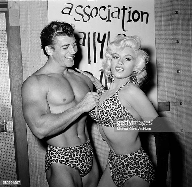 Actress Jayne Mansfield and Mickey Hargitay attend a Halloween party in Los Angeles,California.